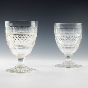 A Pair of Regency Style Cut Glass Rummers c1850