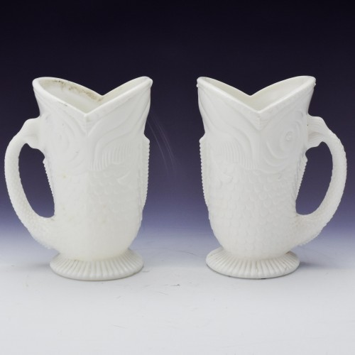 Pair of Heppell Milk Glass Jugs Designed 1882