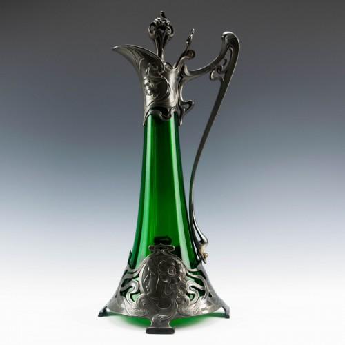 Albert Mayer Designed WMF Art Nouveau Green Glass Claret Jug c1900