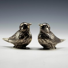 20th Century Sterling Silver Avian Salt and Pepper Casters