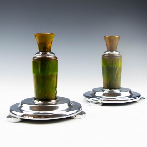 Pair of Pewter and Phenolic Candlesticks 1930-5