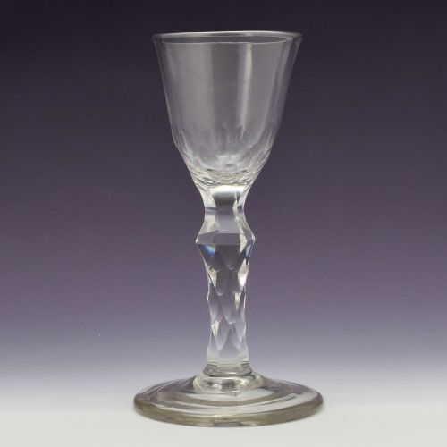Early Facet Cut Stem Georgian Wine Glass c1760