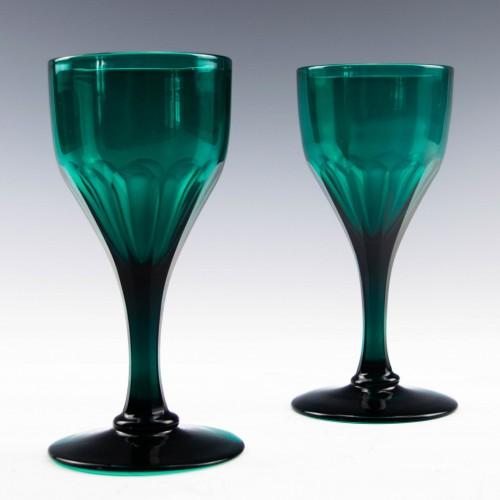 Pair of Georgian Bristol  Green Wine Glasses c1830
