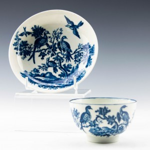 """Worcester Porcelain """"Birds in Branches"""" Pattern Tea Bowl and Saucer c1770"""