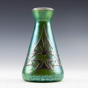 Loetz Crete Papillon Vase with Silver Overlay c1900