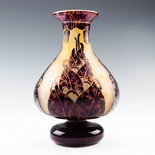Schneider Cameo Glass Lauriers Vase 1924-27