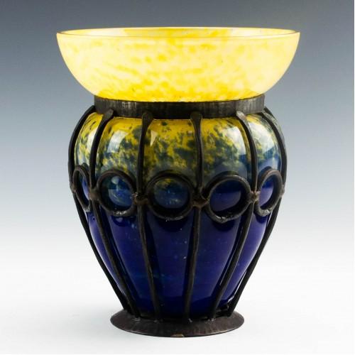 Schneider Vase With Wrought-Iron Mount c1923