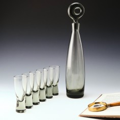 Per Lutken for Holmegaard Aristocrat Decanter and Set of Six Shot Glasses Designed 1956