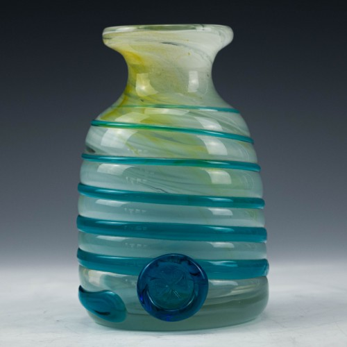 Mdina Vase with Blue Trailing and Cross of Malta c1980