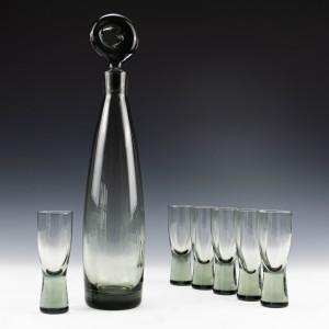 Per Lutken for Holmegaard Aristocrat Decanter and Set of Six Shot Glasses Designed 1956