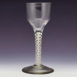 Double Series Opaque Twist Georgian Wine Glass c1760