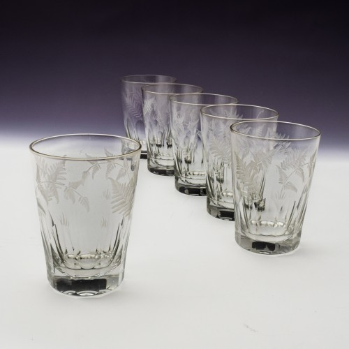 Set of Six Engraved Continental Tumblers