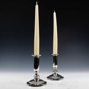 A Pair of Georgian Sterling Silver Candlesticks Sheffield 1800