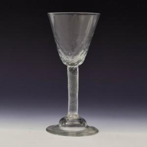 Incised Twist Stem Hammered Georgian Wine Glass c1760