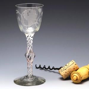 Jacobite Engraved Opaque Twist Georgian Wine Glass c1760