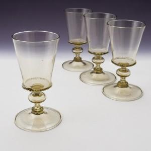 A Set of Four Venetian Wine Glasses c1900