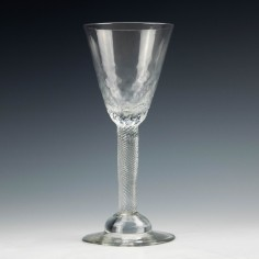 Domed Foot Incised Twist Stem Hammered Georgian Wine Glass c1750