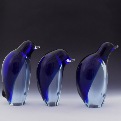 Set of Three Vintage Lauscha Glass Penguins