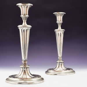 """Pair of """"Old Sheffield"""" Plate Candlesticks c1800"""