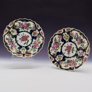 Pair of First Period Worcester Porcelain Dessert Plates c1770