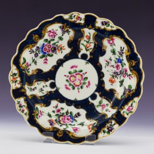 First Period Worcester Porcelain Scale Blue Dessert Plate c1770