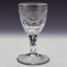 Anti-Stuart Engraved Facet Cut Stem Georgian Wine Glass c1780
