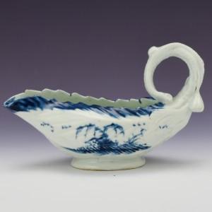 Very Rare Longton Hall Porcelain Sauceboat c1755
