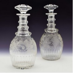Pair of Wheel Engraved Victorian Decanters c1845
