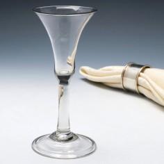 A Very Elegant Plain Stem Georgian Glass Domed Foot c1740