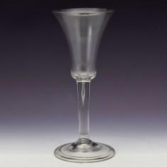 Tall Bell Bowl Plain Stem Georgian Wine Glass c1745
