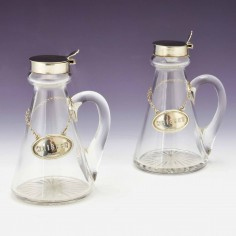 Pair Silver Mounted Whiskey Noggins With Silver Labels Birmingham 1927