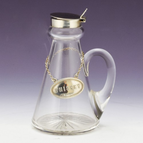 Whiskey Noggin with Sterling Silver Stopper and Label Birmingham 1926