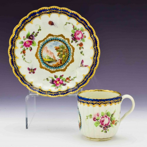 Worcester Dalhousie Type Coffee Cup and Saucer c1780