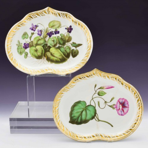 Pair of Derby Botanical Porcelain Kidney Dishes Pattern 115 c1795