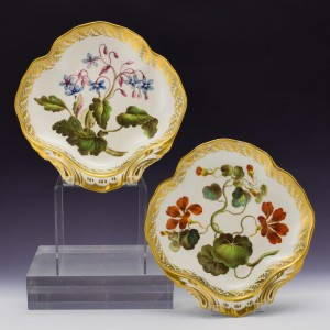 Pair of Derby Botanical Porcelain Serving Dishes Pattern 115 c1795