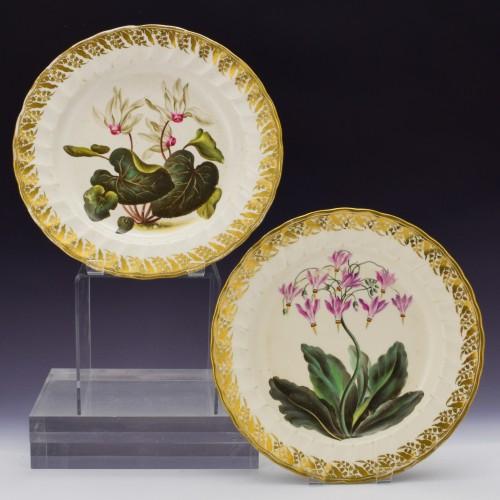 Pair Derby Botanical Porcelain Plates Pattern 115 c1795