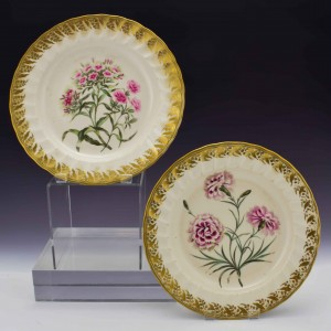 A Pair of Derby Botanical Porcelain Plates Pattern 115 c1795