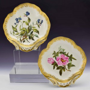 Pair of Botanical Derby Porcelain Dishes 115 c1795