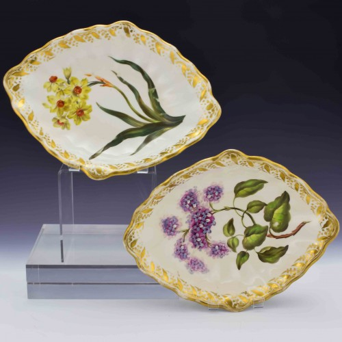 Pair of Derby Botanical Porcelain Dishes Pattern 115 c1795