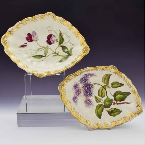 Pair of Derby Botanical Porcelain Lozenge Dishes Pattern 115 c1795