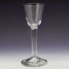 A Fine Georgian Plain Stem Wine Glass c1745