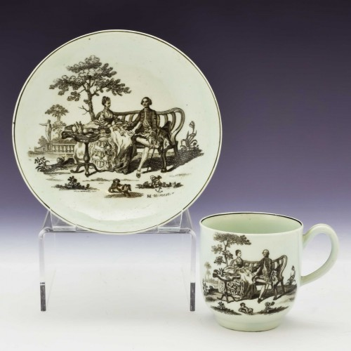 RH Worcester Coffee Cup and Saucer c1760