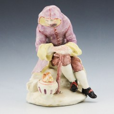 Rare Version Early Bow Porcelain Figure of Winter c1755