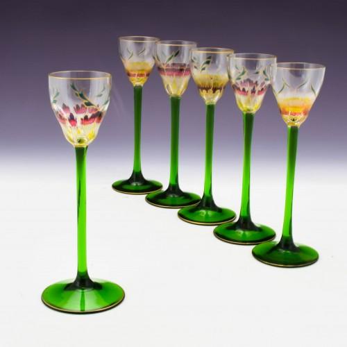 Six Theresienthal Enamelled Liqueur Glasses c1905
