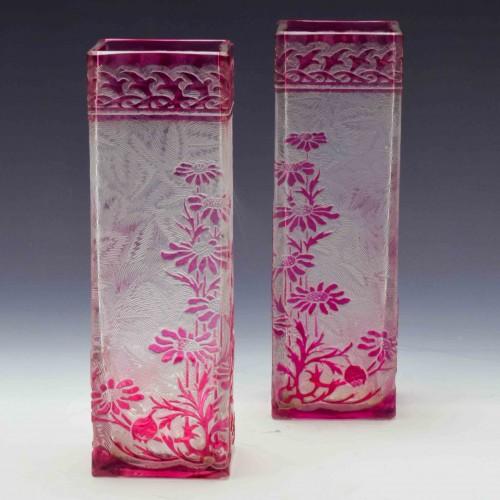 Pair of Baccarat Eglantier Stem Vases c1900