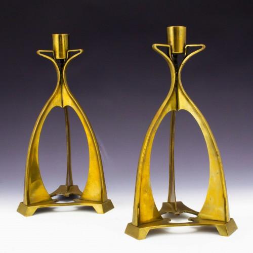 A Pair of Bronze Jugendstil Candlesticks c1905