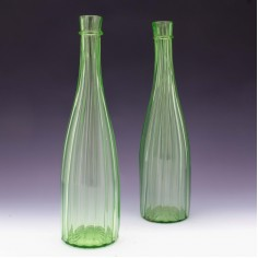 A Pair of Richardson Uranium Green Glass Ribbed Carafes c1865