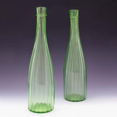 A Pair of Richardson Uranium Green Glass Ribbed Carafes c1865