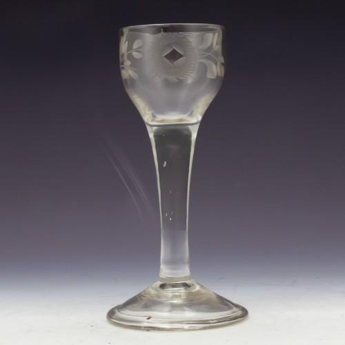 Wheel Engraved Plain Stem Georgian Cordial Glass c1745