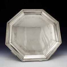 Octagonal Art Deco Sterling Silver Tray Sheffield 1937